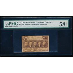 25 Cent First Issue Fractional Note PMG 58EPQ