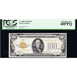 1928 $100 Gold Certificate PCGS 40PPQ