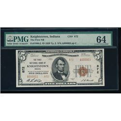 1929 $5 Knightstown National Bank Note PMG 64