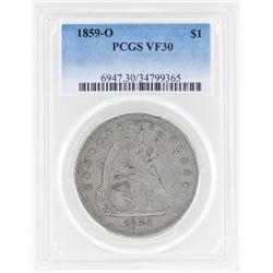 1859-O $1 Seated Dollar Coin PCGS VF30