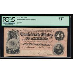 1864 $500 Confederate States of America Ladder SN Note PCGS 35