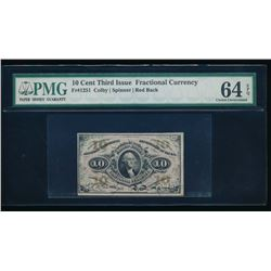 10 Cent Third Issue Fractional Currency Note PMG 64EPQ