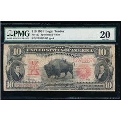 1901 $10 Bison Legal Tender Note PMG 20