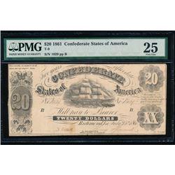 1861 $20 Confederate States of America Note PMG 25