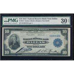 1915 $10 Dallas Federal Reserve Bank Note PMG 30EPQ