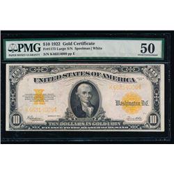 1922 $10 Gold Certificate PMG 50
