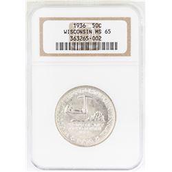 1936 Wisconsin Territorial Centennial Commemorative Half Dollar Coin NGC MS65