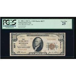 1929 $10 Riverside National Bank Note PCGS 25PPQ