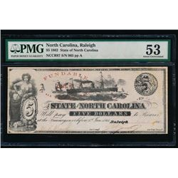 1862 $5 Raleigh NC Obsolete Note PMG 53