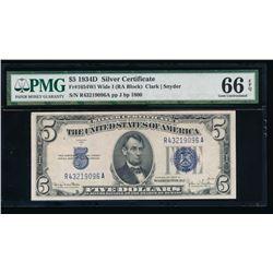 1934D $5 Silver Certificate PMG 66EPQ