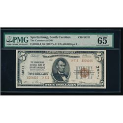 1929 $5 Spartanburg National Bank Note PMG 65EPQ