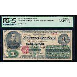 1862 $1 Legal Tender Note PCGS 35PPQ
