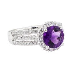 3.50 ctw Amethyst and Diamond Ring - 18KT White Gold