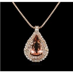 14KT Rose Gold GIA Certified 49.49 ctw Morganite and Diamond Pendant With Chain