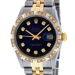 Rolex Mens 2 Tone 14K Blue Vignette Pyramid Diamond Datejust Wristwatch
