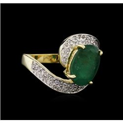 2.75 ctw Emerald and Diamond Ring - 14KT Yellow Gold