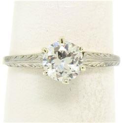 Etched 14k TT Gold .80 ctw European Cut Diamond Solitaire Engagement Ring