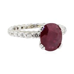 4.80 ctw Ruby and Diamond Ring - 14KT White Gold