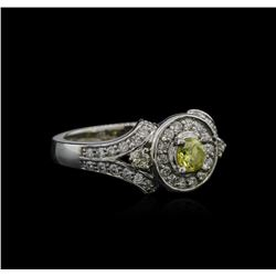 0.95 ctw Yellow Diamond Ring - 14KT White Gold
