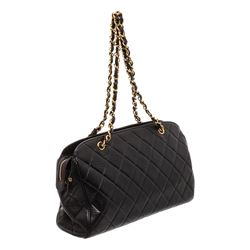 Chanel Black Lambskin Leather Quilted Shoulder Bag