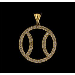1.00 ctw Diamond Baseball Pendant - 14KT Yellow Gold