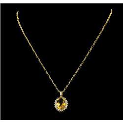 5.65 ctw Citrine Quartz and Diamond Pendant With Chain - 14KT Yellow Gold