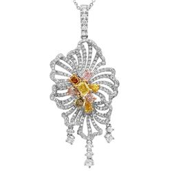 18k Three Tone Gold 3.13CTW Multicolor Dia and Pink Diamond and Diamond Pendant,