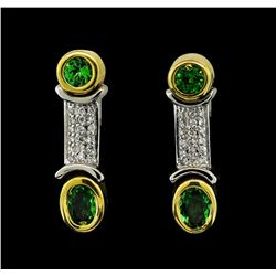 1.34 ctw Tsavorite and Diamond Earrings - 18KT Yellow and White Gold