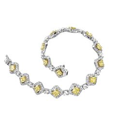 18k Two Tone Gold 8.66CTW Diamond Bracelet, (VS1-SI1/SI1/VS1-VS2/G-H/G /Fancy Ye