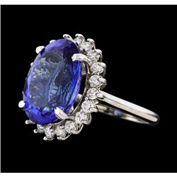 12.58 ctw Tanzanite and Diamond Ring - 14KT White Gold