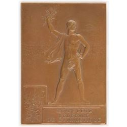Paris 1900 Summer Olympics Bronze Winner's Medal for Gymnastics (Fete Federale) & Two Related Progra