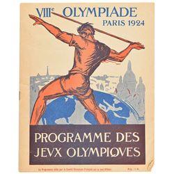 Paris 1924 Summer Olympics Opening Ceremony Program