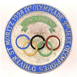 St. Moritz 1928 Winter Olympics Athlete's Badge