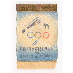 Garmisch 1936 Winter Olympics Silk Ticket