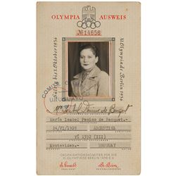 Jesse Owens Signed 1936 Berlin Olympic Committee Travel Pass