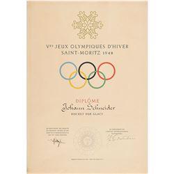 St. Moritz 1948 Winter Olympics Participation Diploma