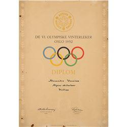 Oslo 1952 Winter Olympics Participation Diploma
