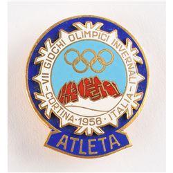Cortina 1956 Winter Olympics Participant Badge