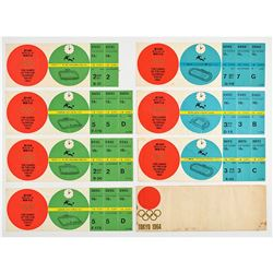 Tokyo 1964 Summer Olympics Group of (6) Unused Soccer Tickets