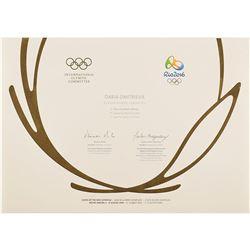 Rio 2016 Summer Olympics Winner's Diploma