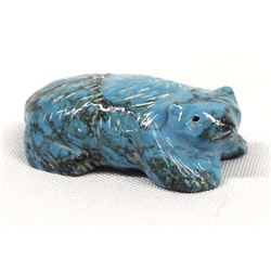 Zuni Carved Turquoise Badger Fetish by Bowannie