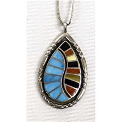 Vintage Navajo Sterling Inlay Pendant Necklace