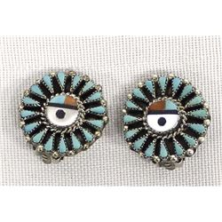 Zuni Sterling Inlay Sun Face Clip-On Earrings