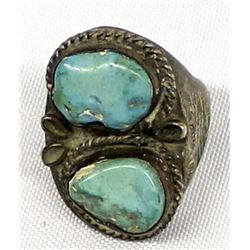 Navajo Sterling Turquoise Ring, Size 12