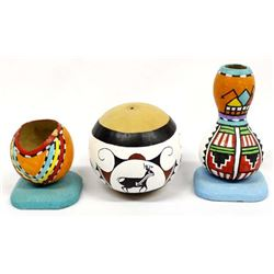 3 Pieces of Gourd Art, Some Native American