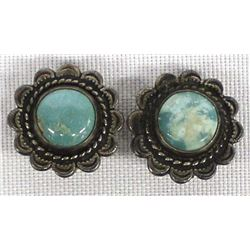 Navajo Old Pawn Silver Turquoise Clip Earrings