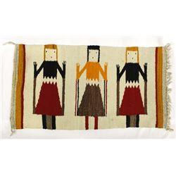 Native American Navajo 3 Yei Wool Textile Rug