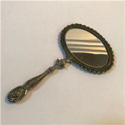 Vintage Ornate Silver Metal Dresser Hand Mirror