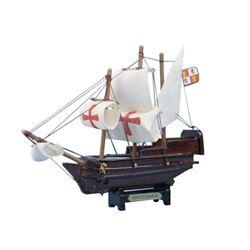 "Wooden Santa Maria Tall Model Ship 7"""