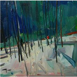 Signed Trujillo Impressionist Oil Painting, The Woods, Winter Landscape